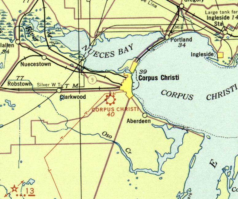 Corpus Christi Map Of Texas.Abandoned Little Known Airfields Texas Western Corpus Christi Area